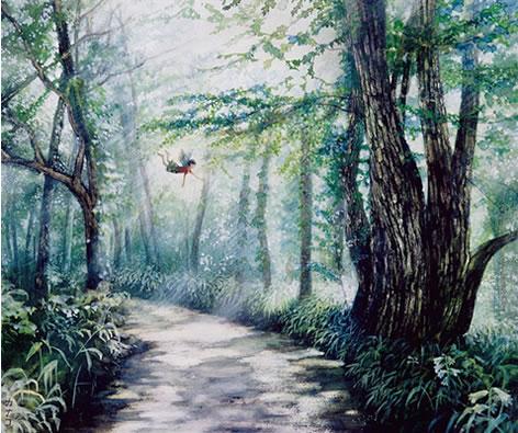 天使シリーズ - 森林浴(墨・アクリル F8号)