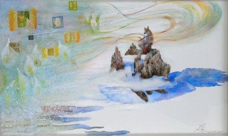 コロボックルの島から7 - 春笛(水彩 5号)