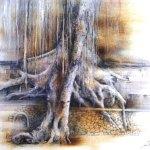 小島加奈子「壁を越える木」(ドローイング8号)