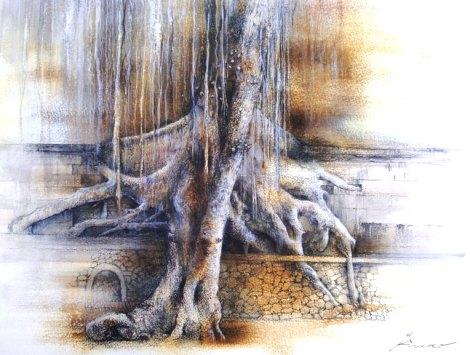 壁を越える木(ドローイング8号)