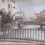 吉川幸作「下川端商店街(東中島橋より)」