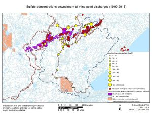 Sulfate concentrations downstream from mine discharges. Photo courtesy GLIFWC
