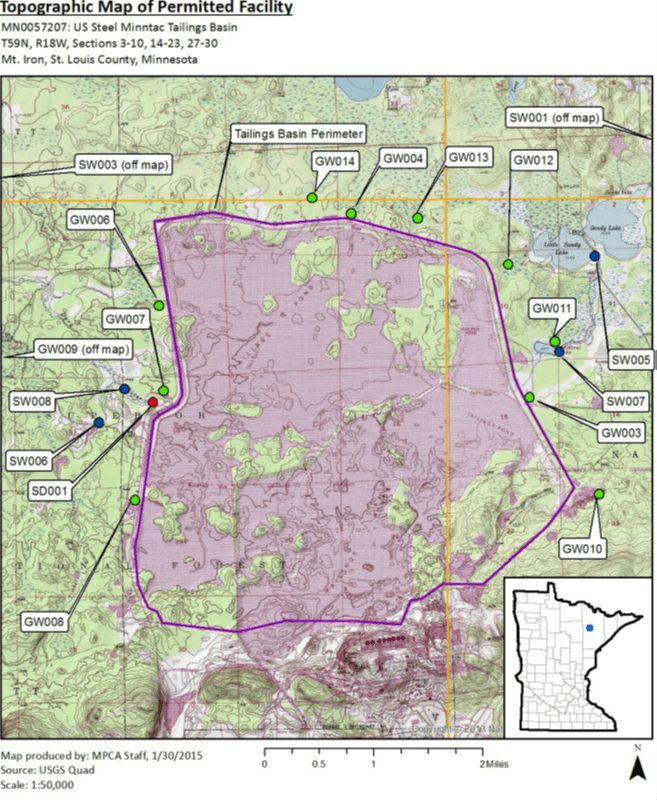 Topo map of Minntac tailings pond.