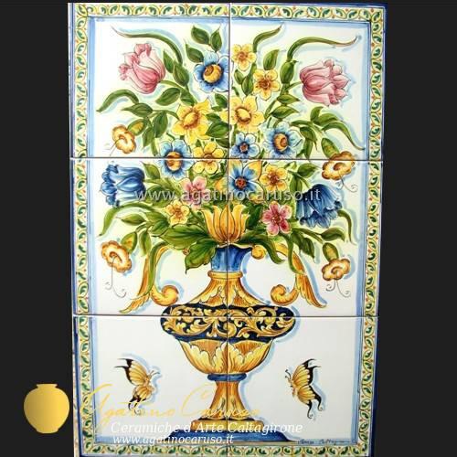 Pannelli ceramica fiorato z007  Ceramiche di Caltagirone Agatino Caruso