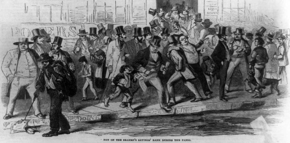 Bank run on the Seamen's Savings Bank during the panic of 1857