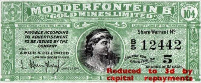 Dividend Coupon By Modderfontein B. Gold Mines Limited - Scan of original