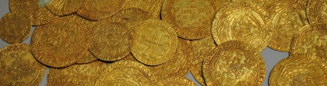 Numismatic old gold coins