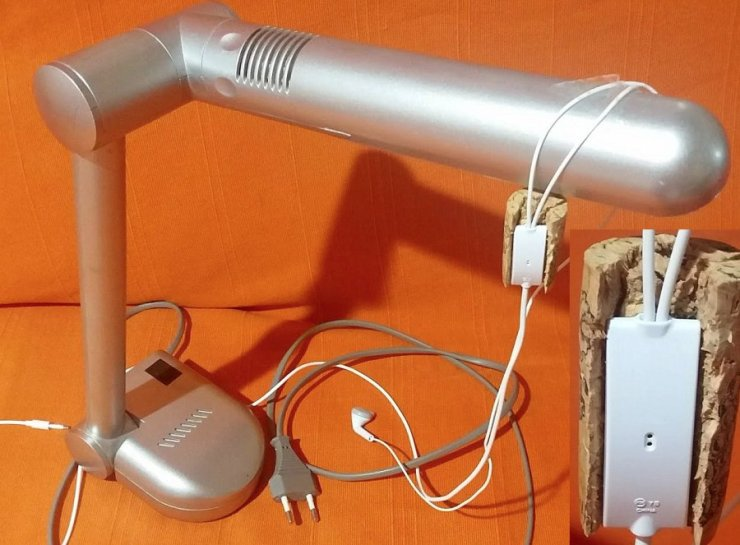"""My """"cardioid desktop microphone"""", DIY. An old table lamp, and an old Samsung """"kit headset""""."""