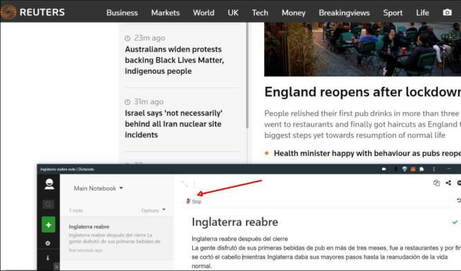Picture 2: How to Write Reading in Another Browser Window? Dictanote Window on Reuters News Site.