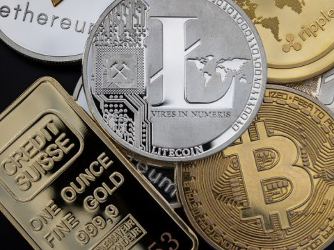 Litecoin Silver, Bitcoin Gold (symbolic cryptocurrency coins)