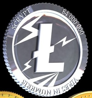 Litecoin drawing. Colors of silver.