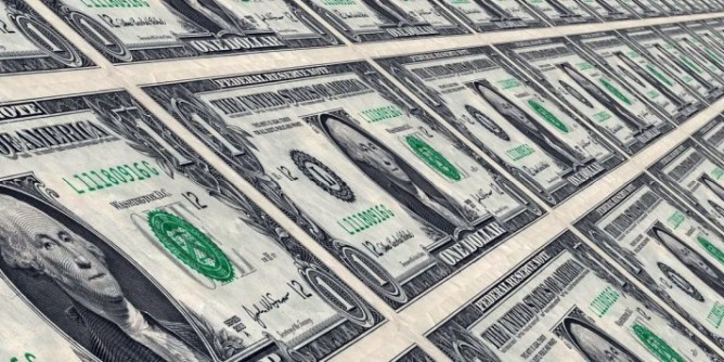 Infinite row of dollar bills