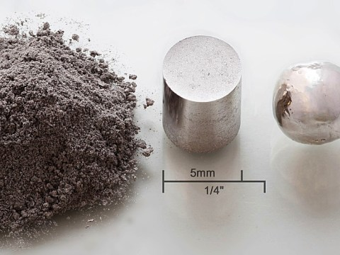 Physical Rhodium powder, pressed and melted forms