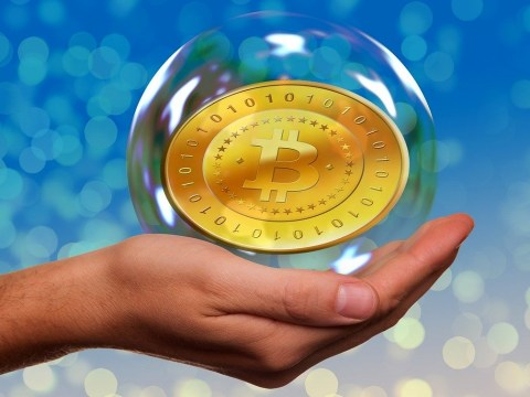 The Bitcoin (commemorative coin) in a bubble