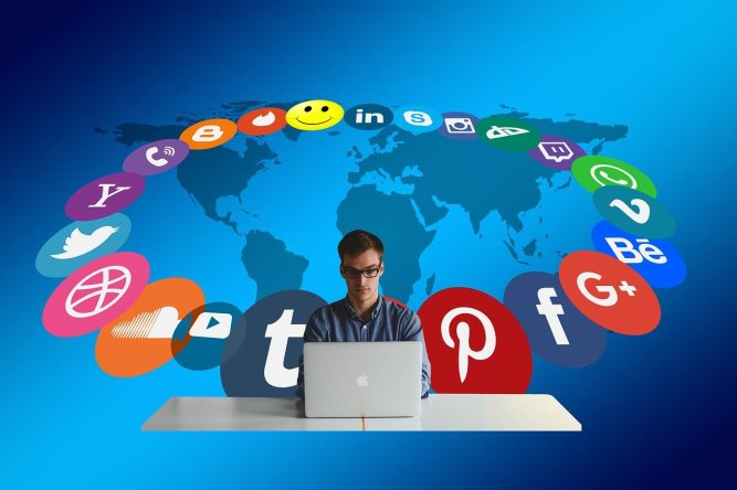 Facebook, Instagram, Twitter mainstream social media icons and a user