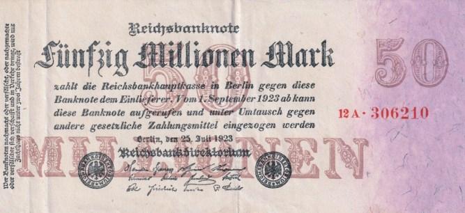 Inflation - a 50 million German Mark bill