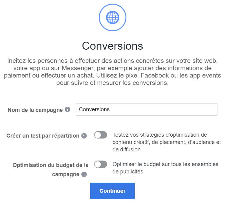 objectif conversions facebook
