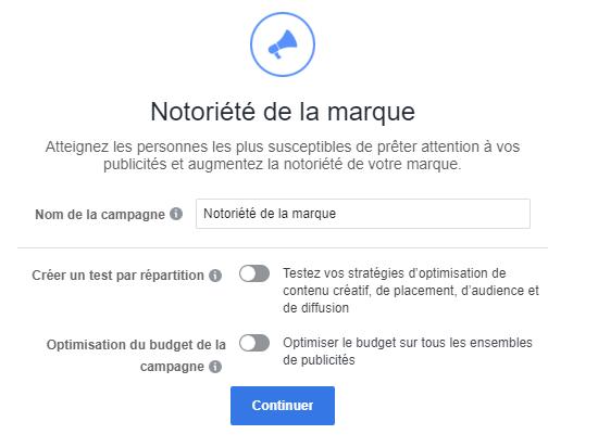 facebook notoriété pub