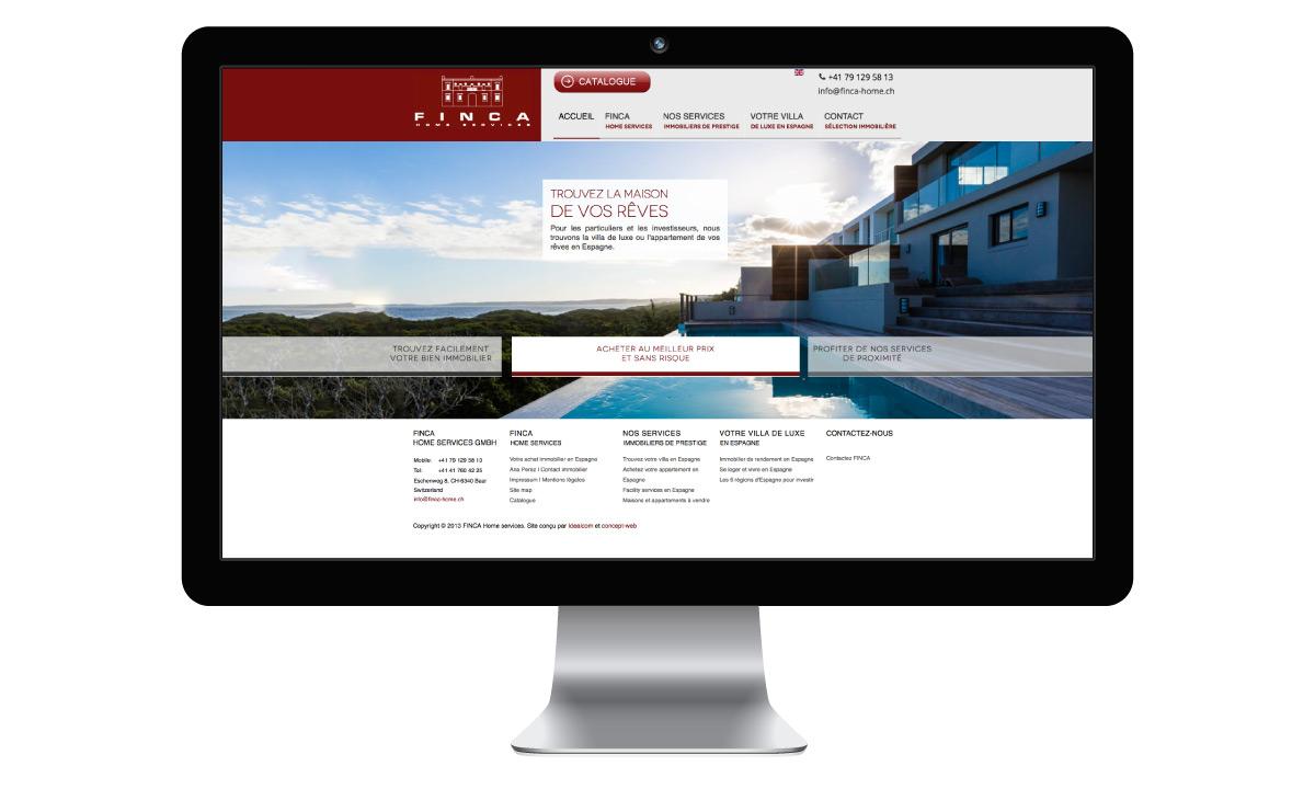 Site internet de l'entreprise suisse Finca Home Services
