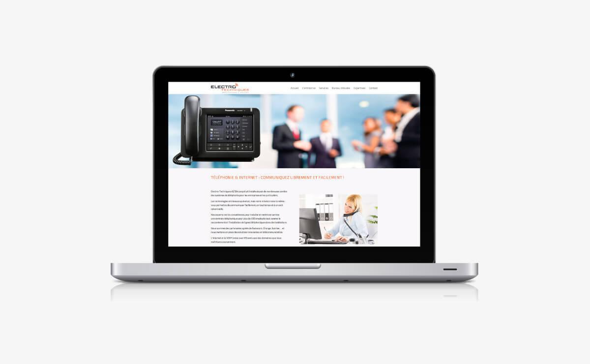 Création du site internet responsive design WordPress d'Electro-techniques à Lausanne