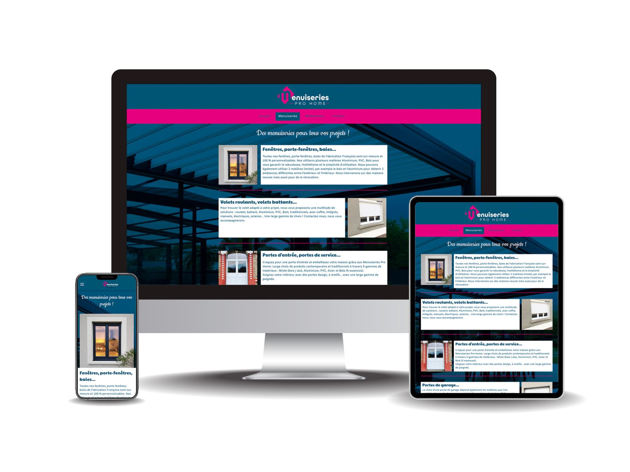 Site internet Menuiserie Pro Home