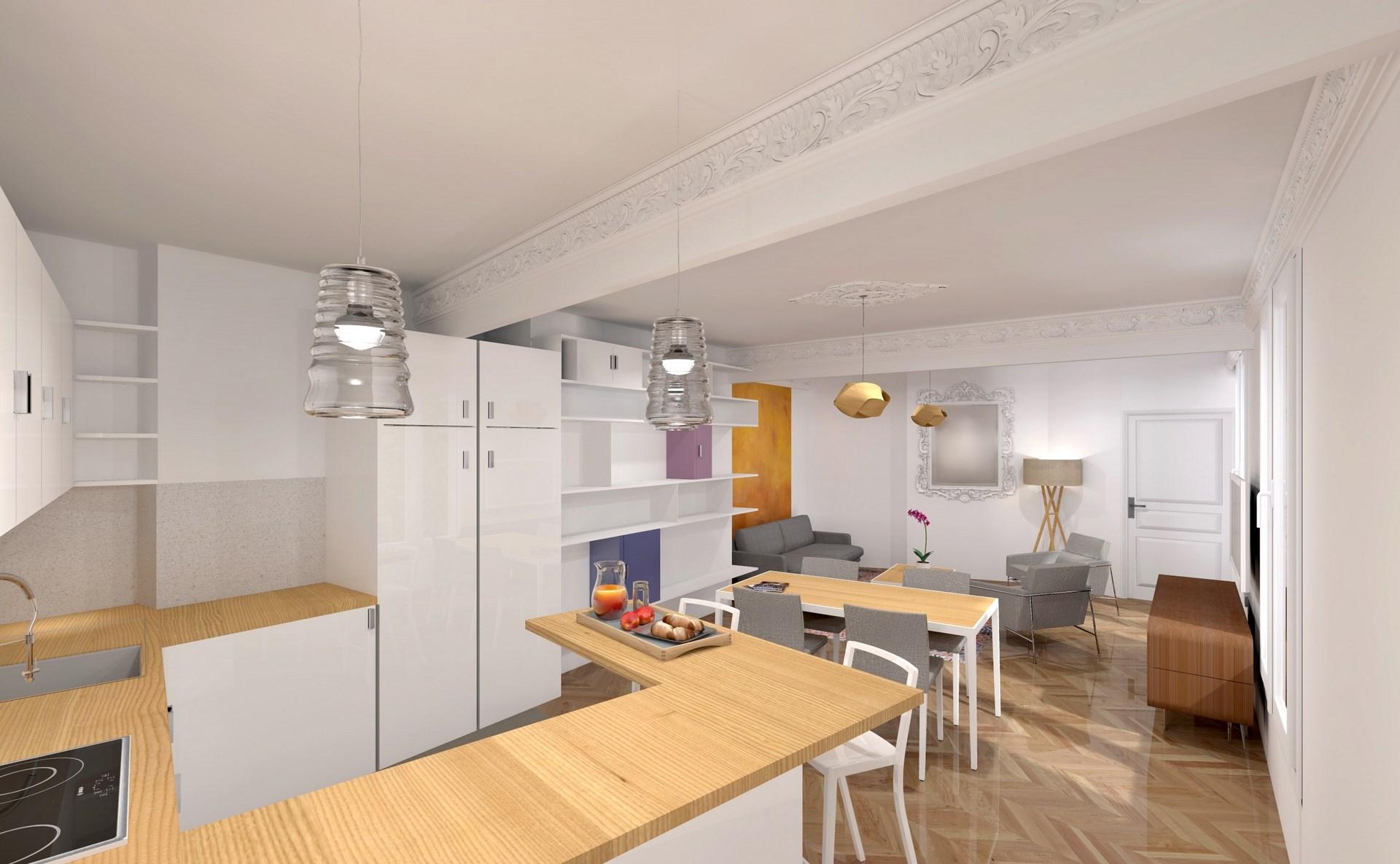 Rnovation Sjour Cuisine Appartement Haussmannien Architecte