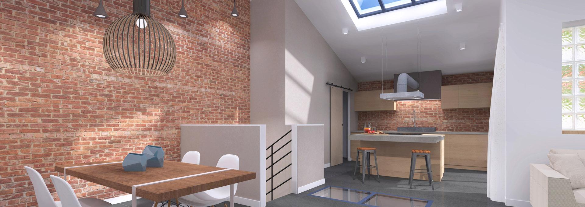 Transformation hangar en loft industriel en duplex avec mur de brique