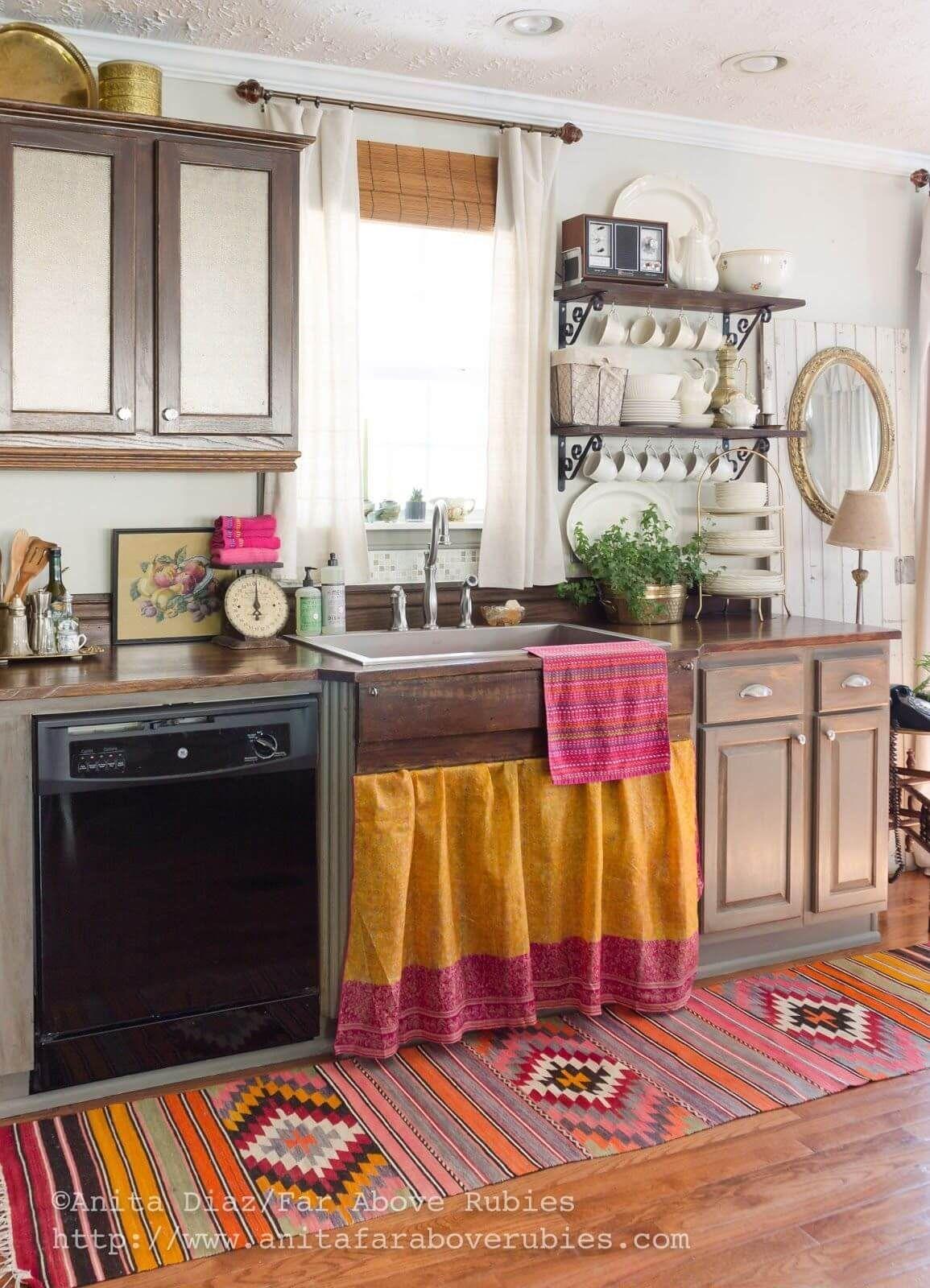 rideau pour meuble de cuisine ouvert