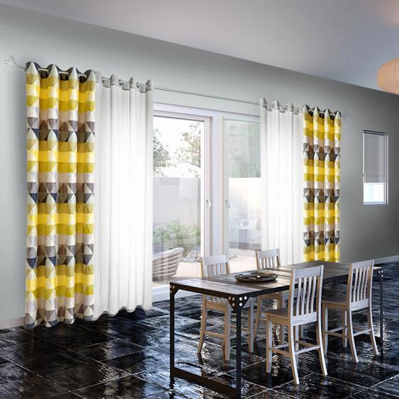 chambre jaune et grise rideaux voilage