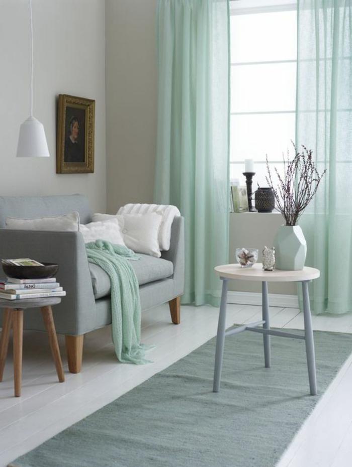 deco mur salon vert pour rideau