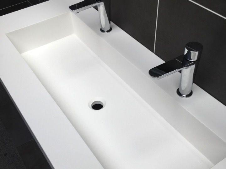 Plan Toilette Avec Double Vasque Integree 50 X 120 Cm Avec Plan De Toilette Sur Mesure Agencecormierdelauniere Com Agencecormierdelauniere Com