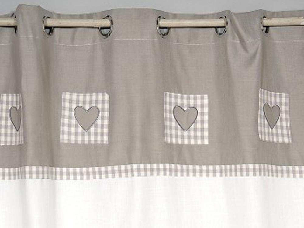 rideau blanc et gris a coeurs simla