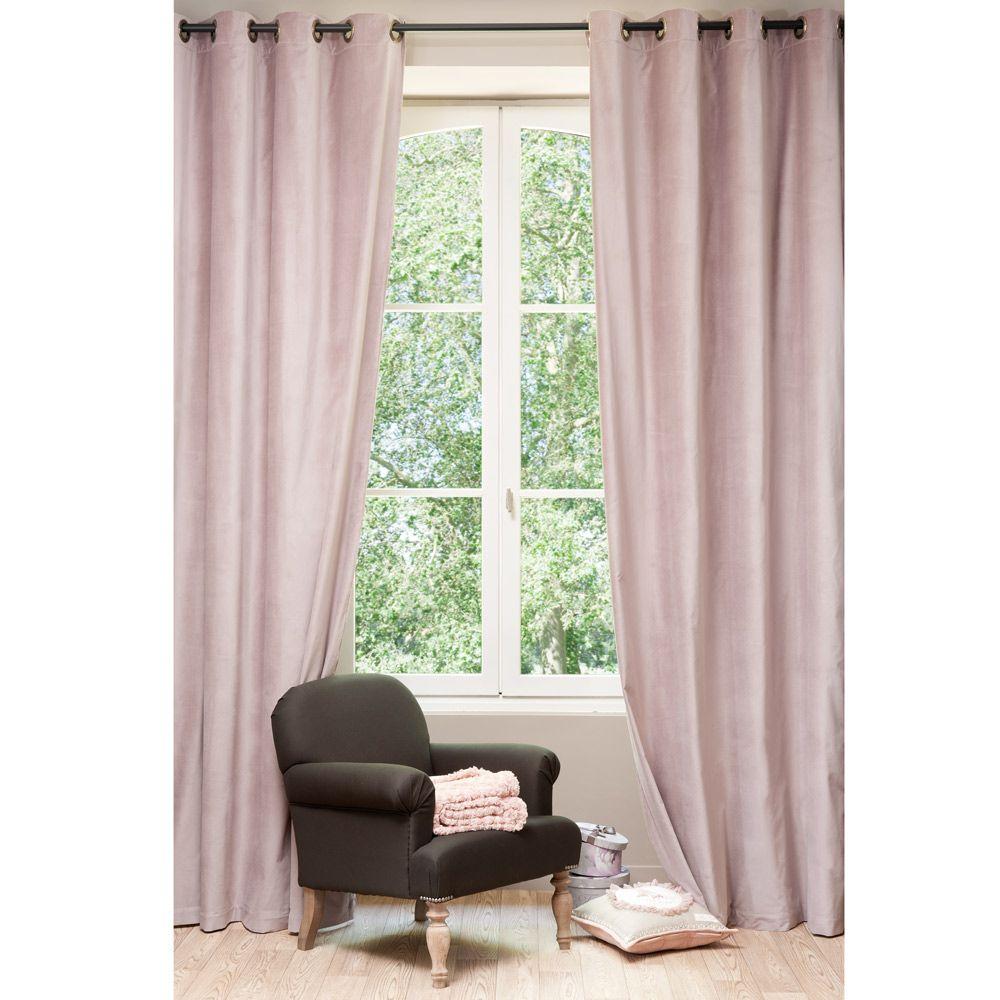 rideau velours rose perle rideaux