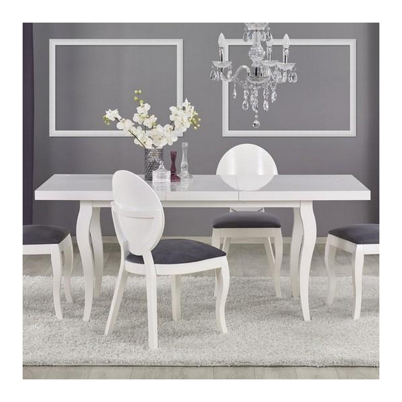 table a manger blanche baroque 140x80