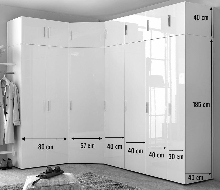 armoire d angle dressing blanc brillant