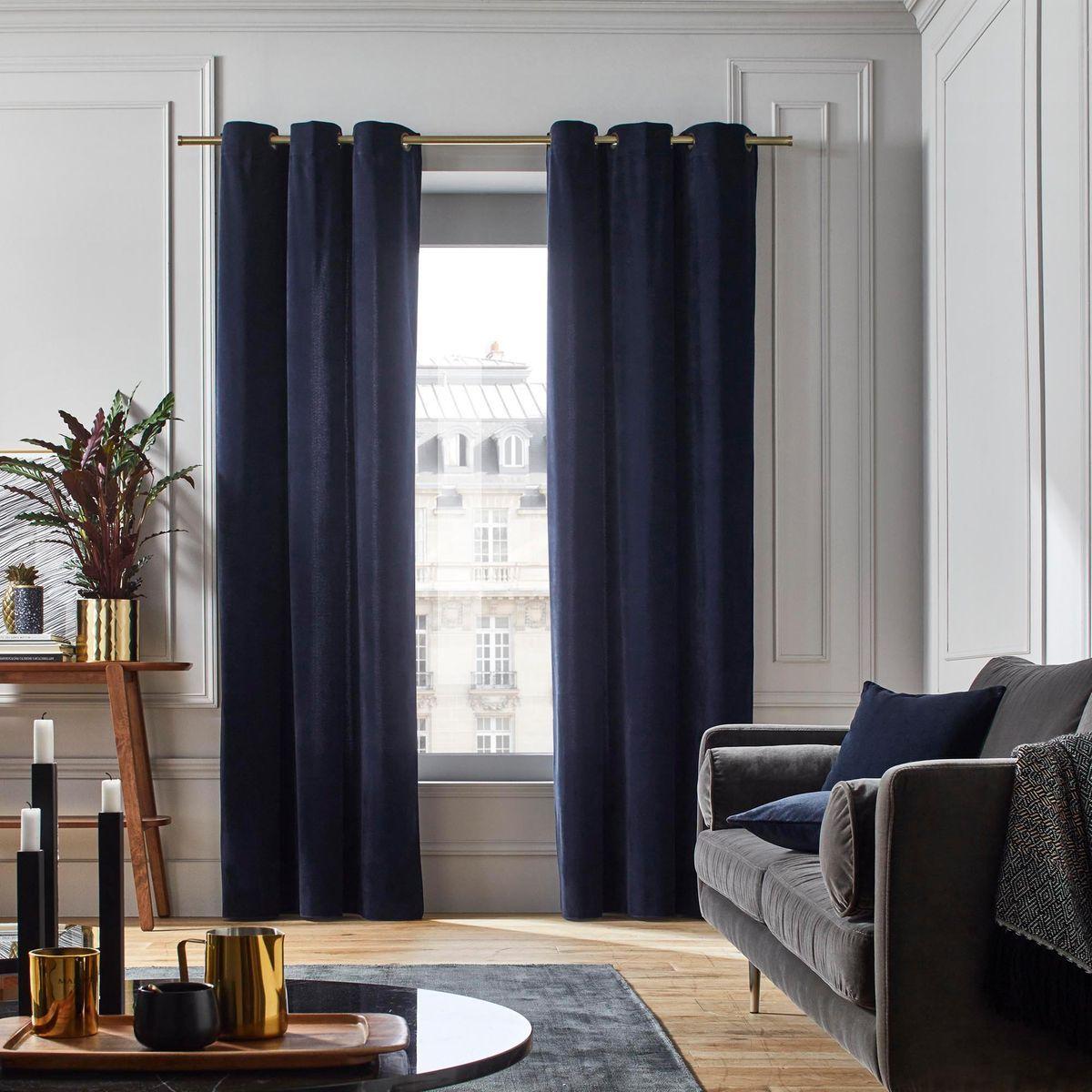 polyester dario bleu marine a rideaux