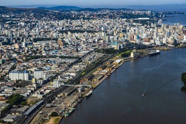 Large cities seen from above. City of Porto Alegre of the state of Rio Grande do Sul, Brazil South America.