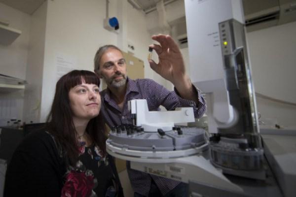 Jochen Brocks y Amber Jarrett con una muestra de aceite de las rocas sedimentarias antiguas estudiadas / Stuart Hay, ANU