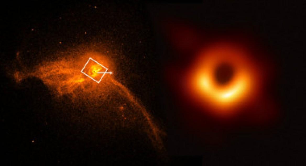 <p>En el núcleo de la galaxia M87 (a la izquierda) se ha captado la primera imagen de un agujero negro (a la derecha). / Primera foto de NASA/CXC/Villanova University/J. Neilsen y segunda de la colaboración EHT</p>