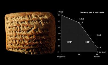 <p>Las siete líneas de una de las tablillas, escritas con signos cuneiformes, ofrecen los datos geométricos de los trapecios que usaban los astrónomos babilónicos para seguir los movimientos de Júpiter. / Mathieu Ossendrijver/Science</p>