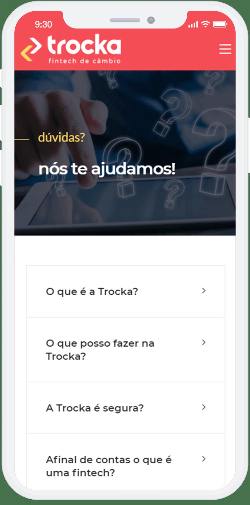 Criação de site para a fintech Trocka.com