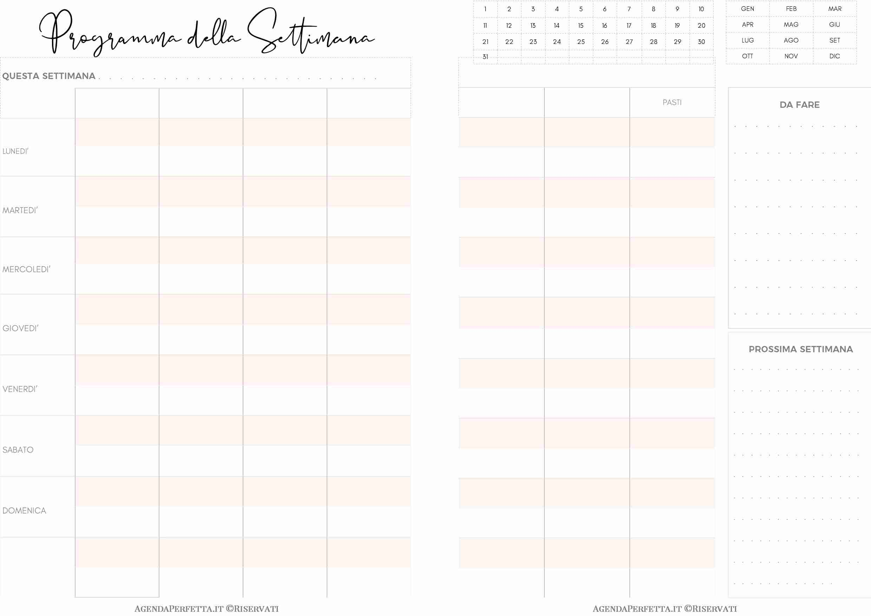 Pagina Calendario Settimanale.Settimanale Su 2 Pagine Tabella Famiglia Multiprogetto Calendario Stampabile