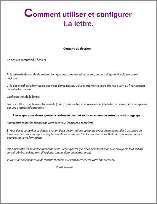 lettre de motivation financement formation conseil regional