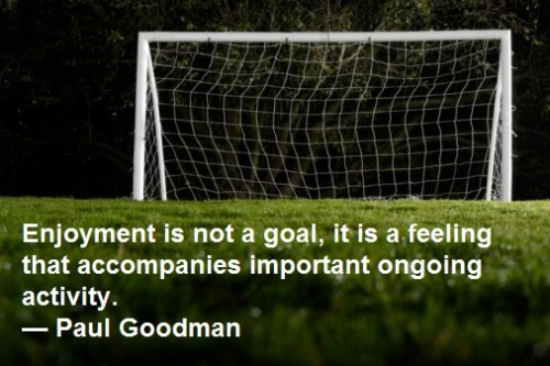 Enjoyment is not a goal, it is a feeling that accompanies important ongoing activity. — Paul Goodman Employee Engagement Quote