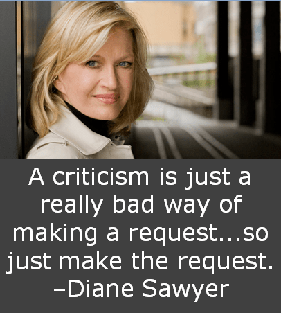 A criticism is just a really bad way of making a request...so just make the request. –Diane Sawyer