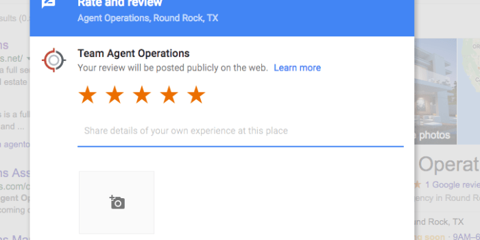 5-star Pre-filled Google Review on Laptop