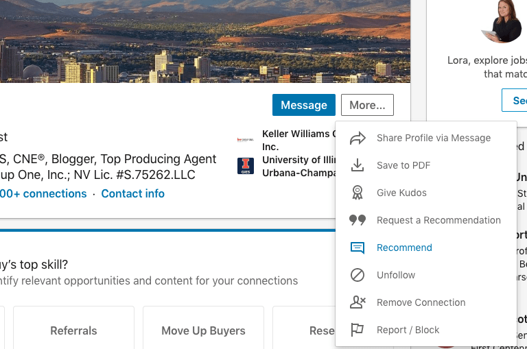 LinkedIn Recommendations for Real Estate