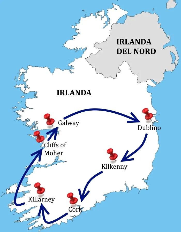 Cartina Turistica Irlanda.Tour In Pullman L Irlanda Del Sud Agenzia Viaggi Ltc