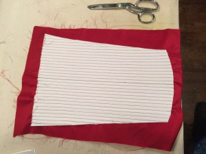 Boning channels sewn, and interlining trimmed to cut lines. It is ready for the boning to be inserted.
