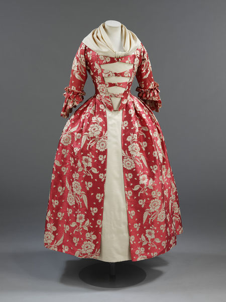 Original red print gown from Victoria & Albert.